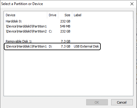 Select a Partition or Device